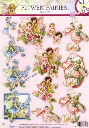 Chicory. Shirley Poppy & Apple Blossom Flower Fairy 180 3D Decoupage Die Cut Sheet